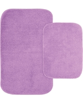Garland 2 Piece Glamor Nylon Washable Bath Rug Set - Purple