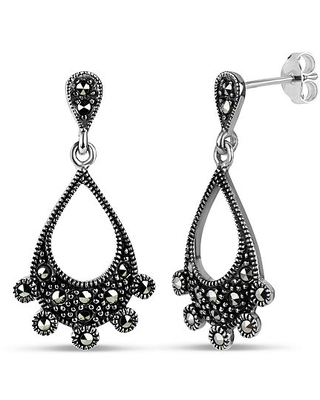 Genuine Black Marcasite Sterling Silver Curved Drop Earrings, One Size
