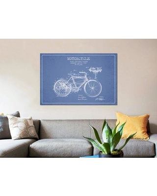 """East Urban Home 'Floyd Bingham Motorcycle Patent Sketch' Graphic Art Print on Canvas in Light Blue ERBR0073 Size: 18"""" H x 26"""" W x 1.5"""" D"""