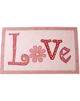 The Little Acorn Love Hand Hooked Wool Pink Area Rug S11R02