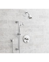 Warby Pressure Balance Cross-Handle Hand-Held Shower Faucet Set, Chrome Finish