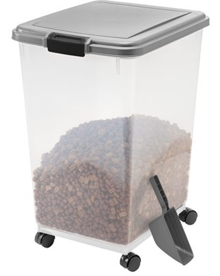 IRIS USA 55lb Airtight Sealed Pet Dog or Cat Food Container with Scoop, Chrome