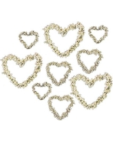 Golden Hill Studio 9 Piece Dainty Beaded Hearts Shaped Ornament Set SF44-Set/9
