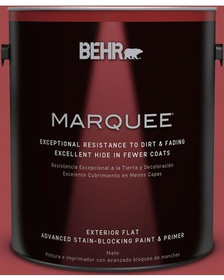 BEHR MARQUEE 1 gal. #icc-107 Crimson (Red) Flat Exterior Paint and Primer in One