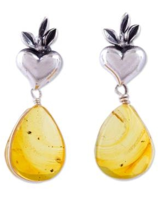 Heart Sterling Silver Earrings with Amber Droplets