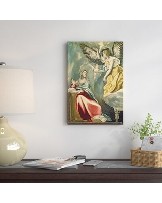 """'The Annunciation' by El Greco Painting Print on Wrapped Canvas East Urban Home Size: 40"""" H x 26"""" W x 0.75"""" D"""