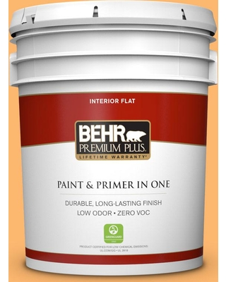 BEHR Premium Plus 5 gal. #P240-5 Cheese Puff Flat Low Odor Interior Paint and Primer in One