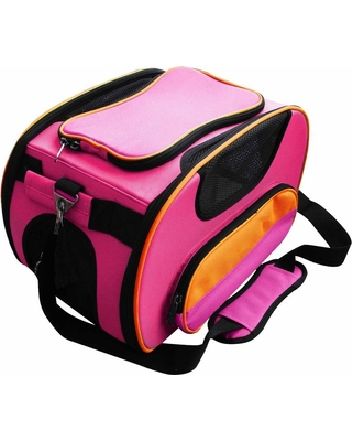 PET LIFE Airline Approved Sky-Max Modern Collapsible Pet Carrier, Pink