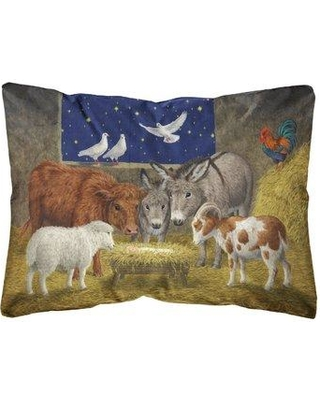 Check Out Deals On The Holiday Aisle Oakgrove Animals At Crib Nativity Christmas Scene Fabric Indoor Outdoor Throw Pillow In Brown Green Gray Size 12x18 Wayfair