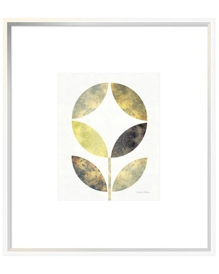 """'Golden Flower II' Graphic Art Print East Urban Home Size: 25.6"""" H x 22.6"""" W x 1.5"""" D, Matte Color: Bright White, Format: Collins White Framed"""