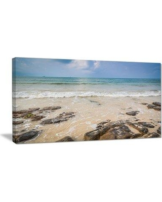 "Design Art Rocks on Typical Tropical Beach Photographic Print on Wrapped Canvas PT10650- Size: 16"" H x 32"" W x 1"" D"