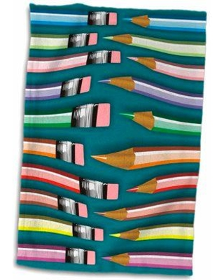 East Urban Home Dunlap Bendy Colored Pencils with Eraser Tips Hand Towel W000020533