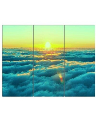Design Art 'Beautiful Sunset over Blue Clouds' 3 Piece Photographic Print on Wrapped Canvas Set PT12226-3P