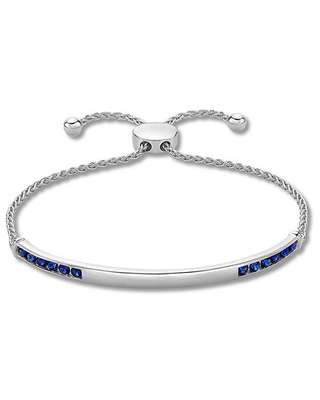 Lab-created Sapphire Bolo Bracelet Sterling Silver