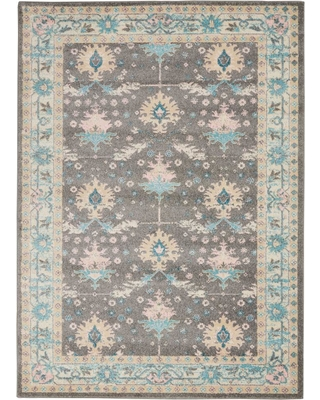 Nourison Tranquil TRA10 Pink and Grey 5 ft. x 7 ft. Bordered Oriental Area Rug, Grey/Pink