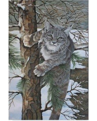 """Millwood Pines 'Bobcat on Tree' Acrylic Painting Print on Wrapped Canvas MLWP5040 Size: 19"""" H x 12"""" W x 2"""" D"""