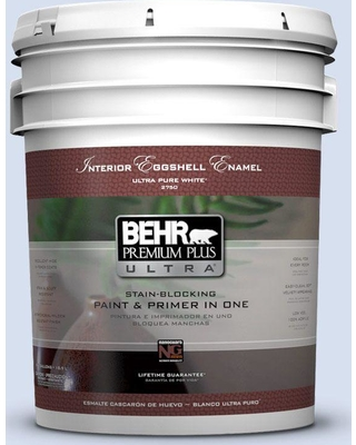 BEHR Premium Plus Ultra 5 gal. #580A-2 Icy Bay Eggshell Enamel Interior Paint and Primer in One