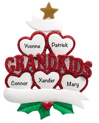 Family Of 5 Grandkids Hearts Holiday Shaped Ornament