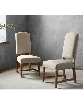 Ashton Upholstered Non-Tufted Dining Side Chair, Performance Chateau Basketweave Light Gray