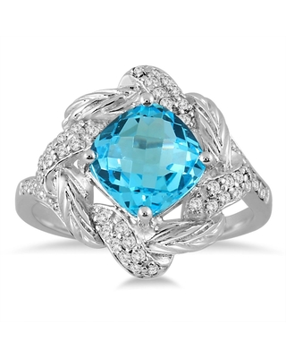 2.65 Carat Cushion Cut Blue Topaz and Genuine Diamond Ring in 10K White Gold (9.5)