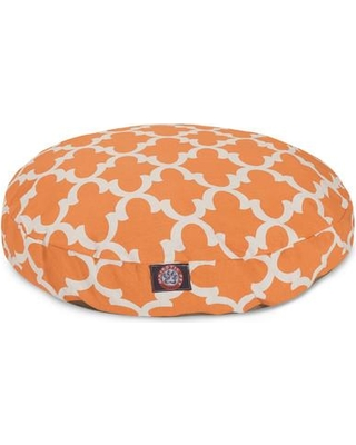 """Majestic Pet Products Trellis Round Dog Pillow Bed, Polyester in Peach, Size Medium (36"""" W x 36"""" D x 5"""" H); 