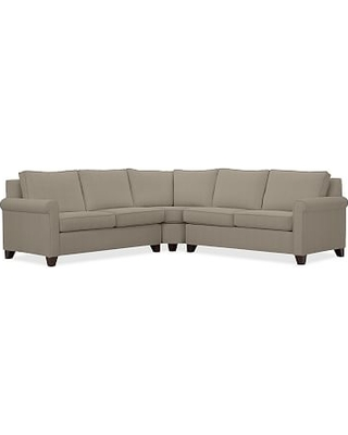 Cameron Roll Arm Upholstered 3-Piece L-Shaped Wedge Sectional, Polyester Wrapped Cushions, Performance Everydayvelvet(TM) Carbon