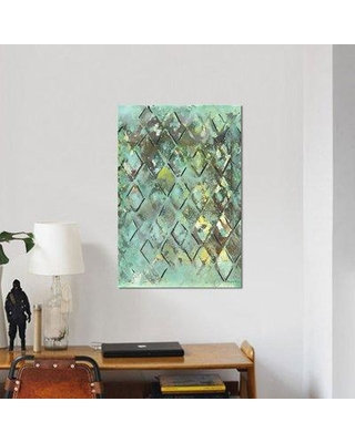 """East Urban Home 'Lattice in Green I' Print on Wrapped Canvas ERNI6399 Size: 26"""" H x 18"""" W x 1.5"""" D"""