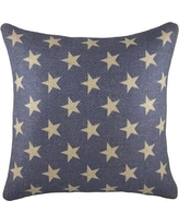 TheWatsonShop Patriotic Stars Burlap Throw Pillow BBEISTAR16 / BBLUESTARS16 Color: Beige