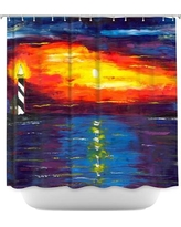 DiaNocheDesigns Sunset at Lighthouse Shower Curtain SHO-JessilynParkSunsetatLighthouse