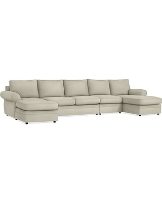 Pearce Roll Arm Upholstered 4-Piece Double Chaise Sectional, Down Blend Wrapped Cushions, Premium Performance Basketweave Oatmeal