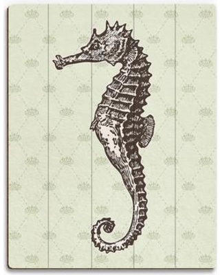 """Click Wall Art Vintage Seahorse Seaweed Graphic Art on Plaque RBH0000110PLK Size: 12"""" H x 9"""" W x 1"""" D"""