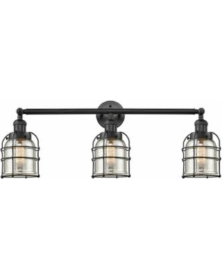Innovations Lighting Bruno Marashlian Small Bell Cage 31 Inch 3 Light LED Bath Vanity Light - 205-BK-S-G58-CE-LED