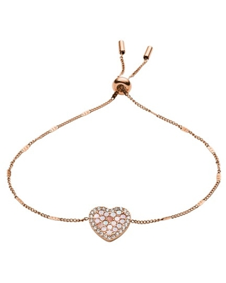 d53207c57228d fossil Fossil Mosaic Heart Rose Gold-Tone Stainless Steel Bracelet jewelry  - JF03163791 from Fossil   Martha Stewart