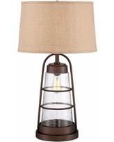 Industrial Lantern Table Lamp with Night Light