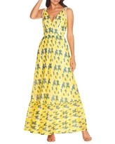 Dress the Population Sunny Embroidered Floral Tie Shoulder Gown, Size Medium in Canary Multi at Nordstrom