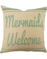 TheWatsonShop Mermaids Welcome Burlap Throw Pillow BMERMAIDOMB