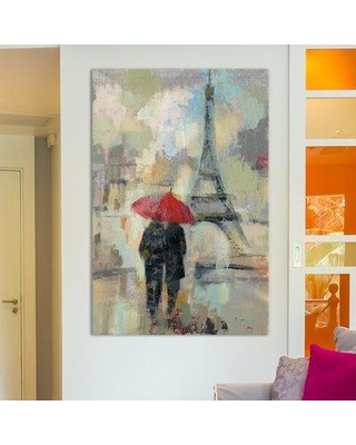 "East Urban Home Rain in The City II Painting Print on Wrapped Canvas ESRB4976 Size: 60"" H x 40"" W x 1.5"" D"