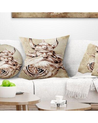 Remarkable Deals On East Urban Home Abstract Portrait Viking Warrior Tattoo Sketch Pillow Product Type Throw Pillow Polyester Polyfill Polyester Polyester Blend