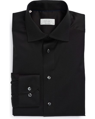 Men's Eton Contemporary Fit Twill Dress Shirt, Size 15.5 - Black