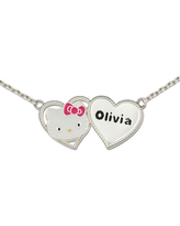 Hello Kitty Personalized Girls Sterling Silver and Enamel Two Heart Necklace, One Size , White