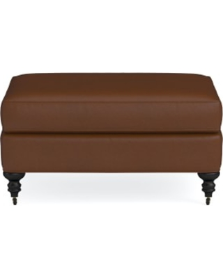 Bedford Ottoman, Tuscan Leather, Bourbon, Natural Leg