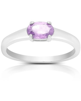 Dolce Giavonna Sterling Silver Amethyst Oval Solitaire Ring (7)
