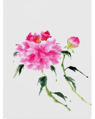 """Charlton Home 'Peonies in Pink IV' Watercolor Painting Print on Wrapped Canvas CRLM2229 Size: 32"""" H x 24"""" W x 2"""" D"""