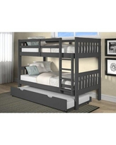 Isabelle & Max™ Chaney Twin Solid Wood Standard Bunk Bed w/ Trundle Wood in Gray, Size 41.62 W x 77.84 D in   Wayfair