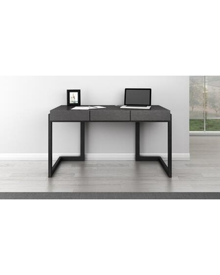 """FT56CGD Signature Home Collection 56"""" Writing Desk In Graphite Italian Engineered Veneers And Solid Cherry Wood Base In An Ebony"""