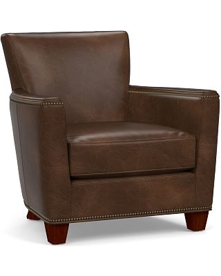 Irving Square Arm Leather Armchair with Bronze Nailheads, Polyester Wrapped Cushions, Vintage Cocoa