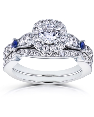 Annello by Kobelli 14k White Gold 1 1/6ct TGW Moissanite with Sapphire and Diamond Antique 2 Ring Bridal Set (GH, I1-I2) (5.5)
