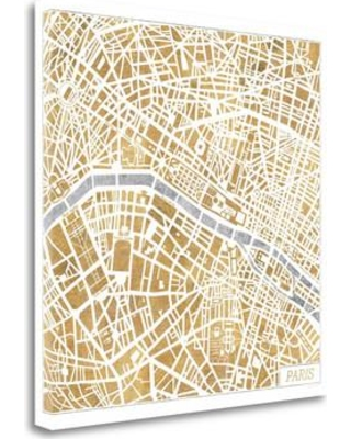 "Tangletown Fine Art 'Gilded Paris Map' Graphic Art Print on Canvas WA617663-1818c Size: 18"" H x 18"" W"