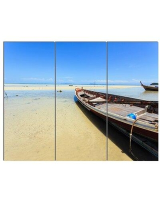 Design Art 'Traditional Thai Boat on Beach' 3 Piece Photographic Print on Wrapped Canvas Set PT14723-3P