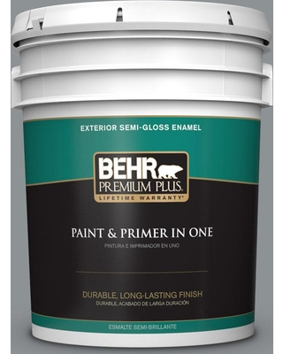 BEHR Premium Plus 5 gal. #PPU26-05 Flint Gray Semi-Gloss Enamel Exterior Paint and Primer in One